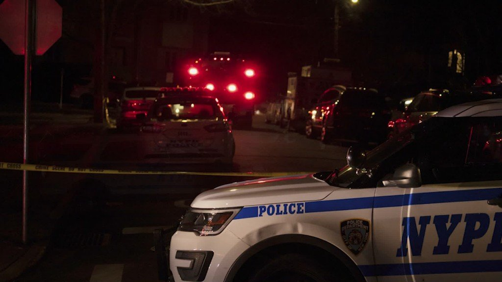 The scene where a man shot two police officer in New York City