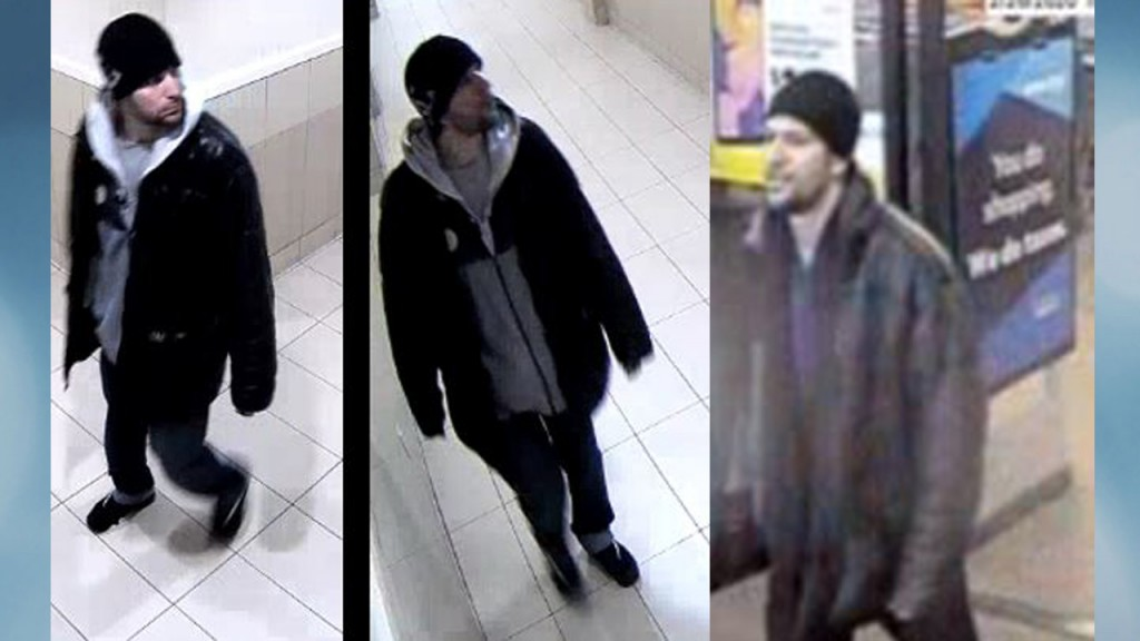 three different photos of person police are looking for