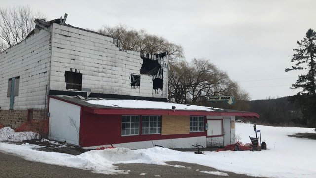 The Barn Restaurant showing damage from fire