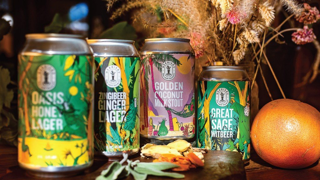 four different beers from Herbiery Brewing