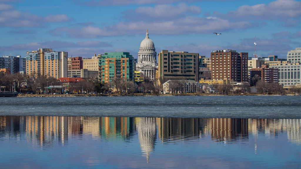A picture of Madison's skyline with a blue and pink sky