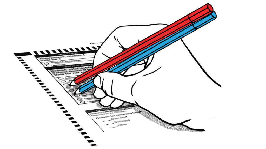 graphic of a red and blue pencil filling in a ballot