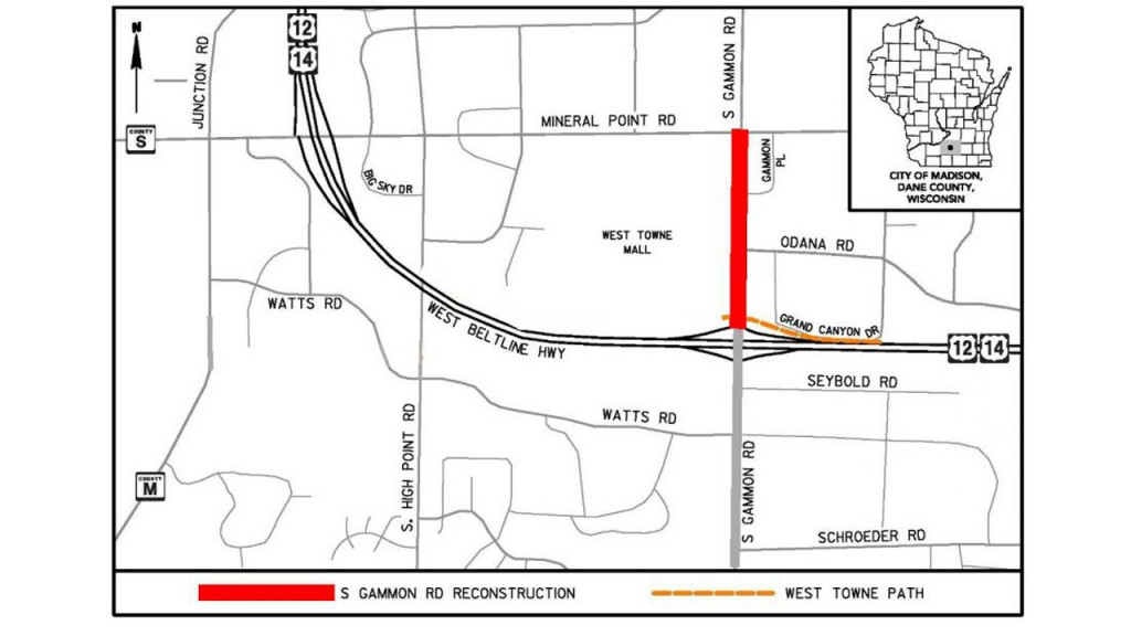 A map of construction on Gammon Road