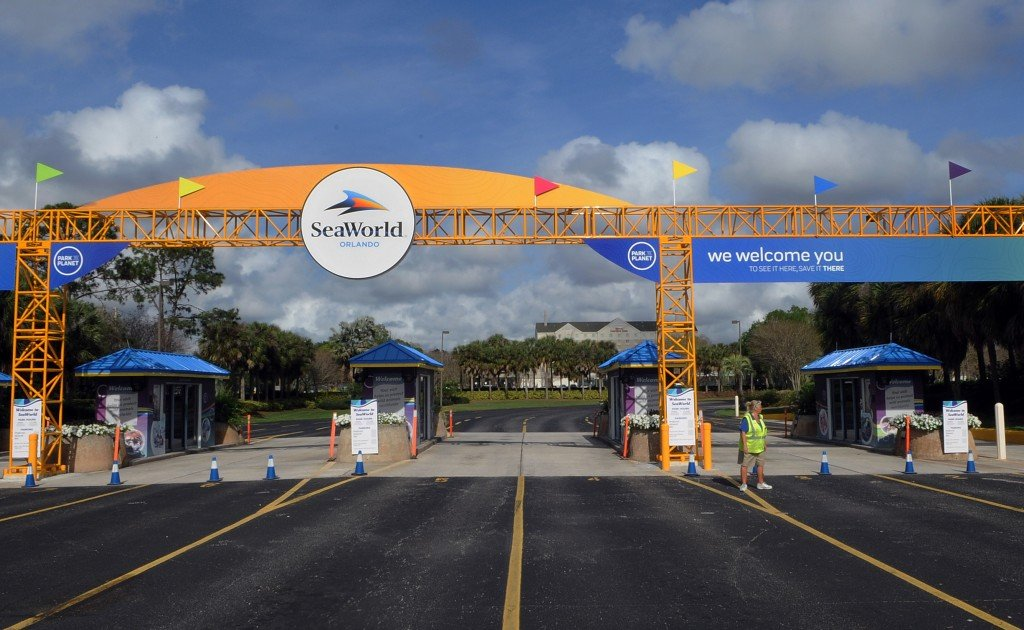 The Entrance To The Seaworld Orlando Is Seen On The First