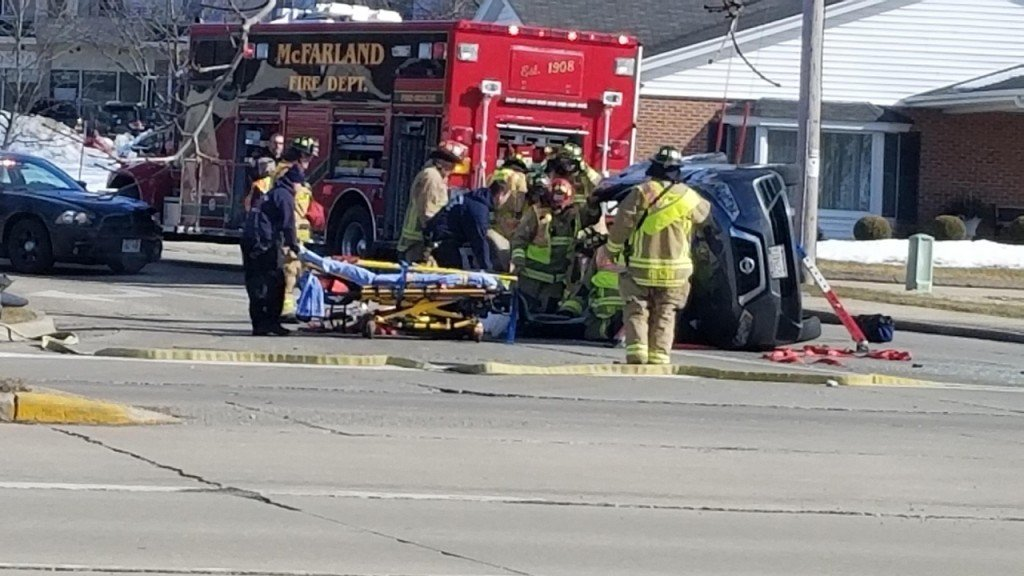 A photo of a rollover crash in McFarland, Wisconsin