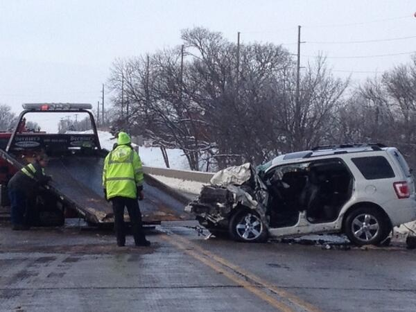 Crash on bridge leaves 1 in serious condition, 2 others injured