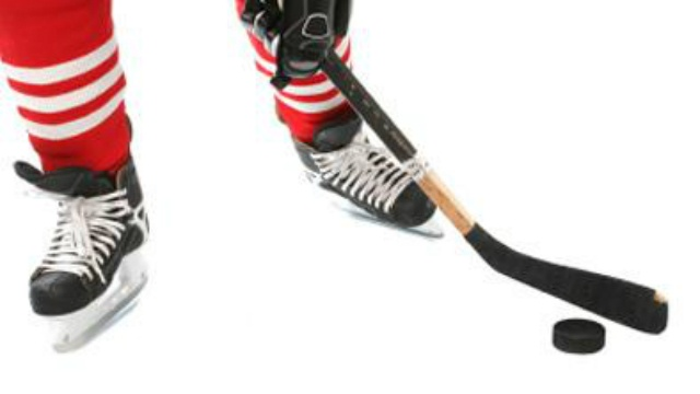 Hockey stick, puck, skates