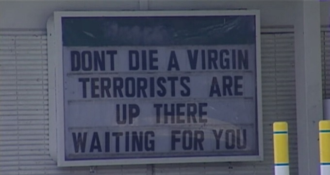 'Terrorists,' 'virgins' sign at gas station gets attention