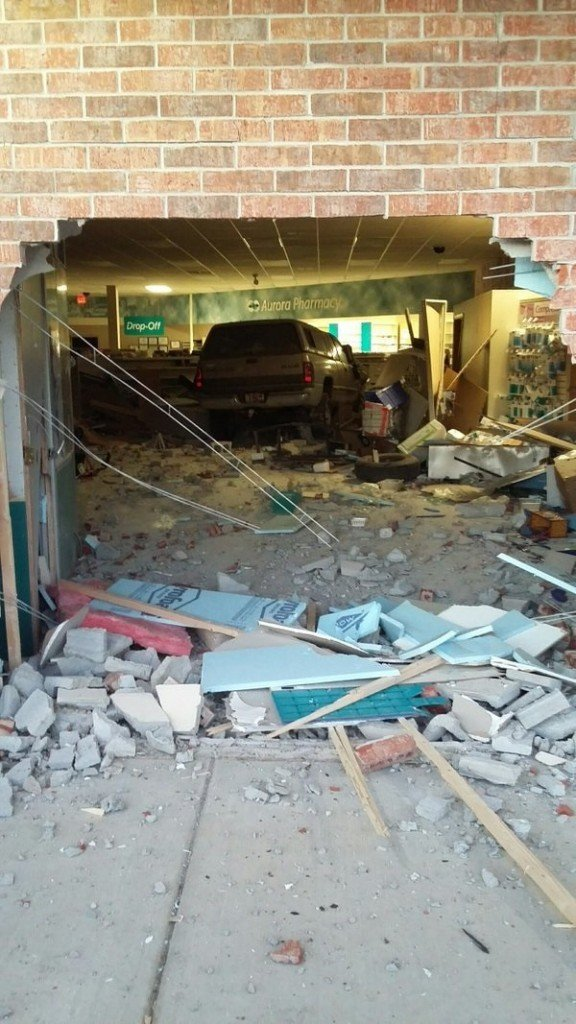 Suspected impaired driver crashes car into pharmacy