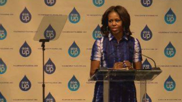 First lady tells America to 'drink up'