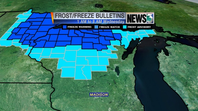 1st frost advisory of season issued for central, northern counties
