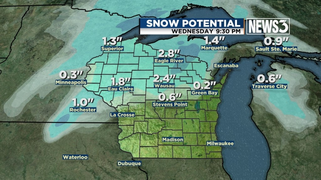 Snow north of Madison could cause travel problems