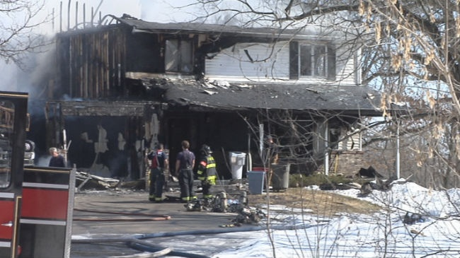 Fire engulfs house in town of Primrose, police say no injuries