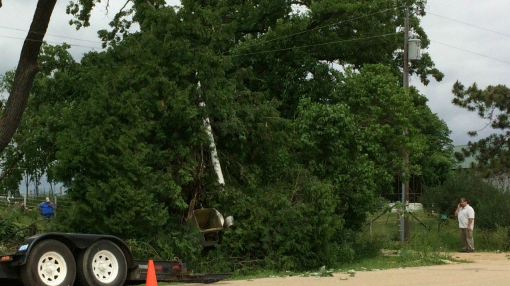 PHOTOS: Crews respond to report of person fallen from bucket on rural road