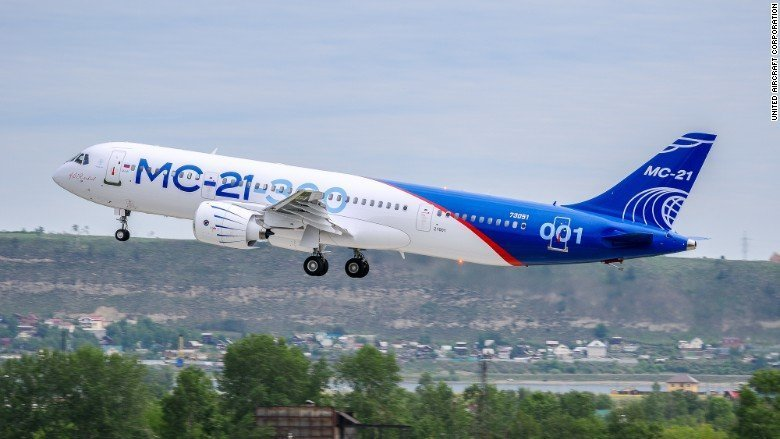 Russia's first large airliner of the post-Soviet era takes flight