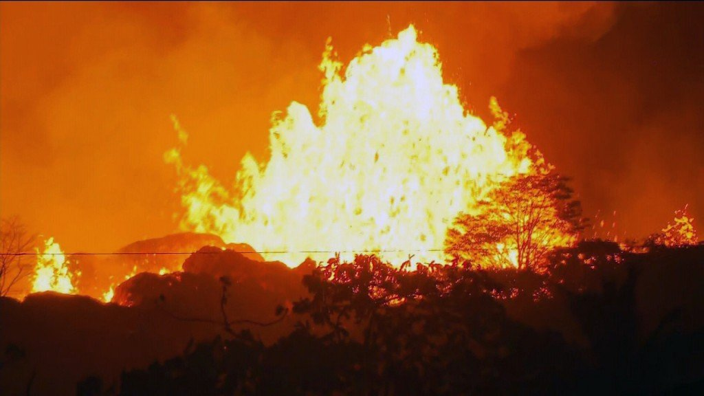 Man hit by flaming 'lava bomb'