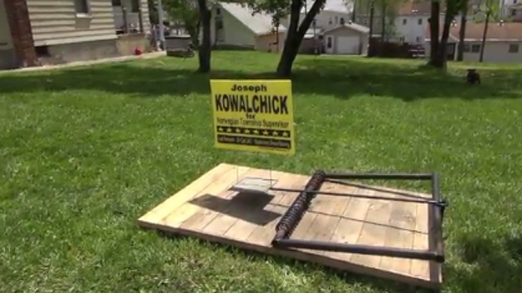 Human-sized rat trap prevents campaign sign thieves