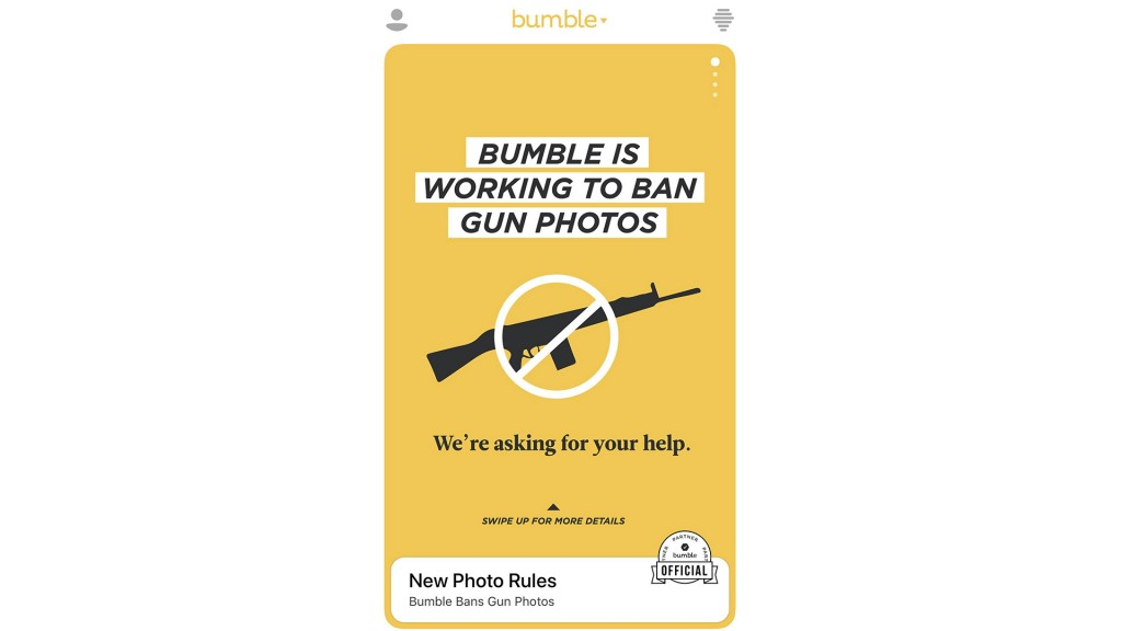 Bumble is banning photos with guns from its dating app