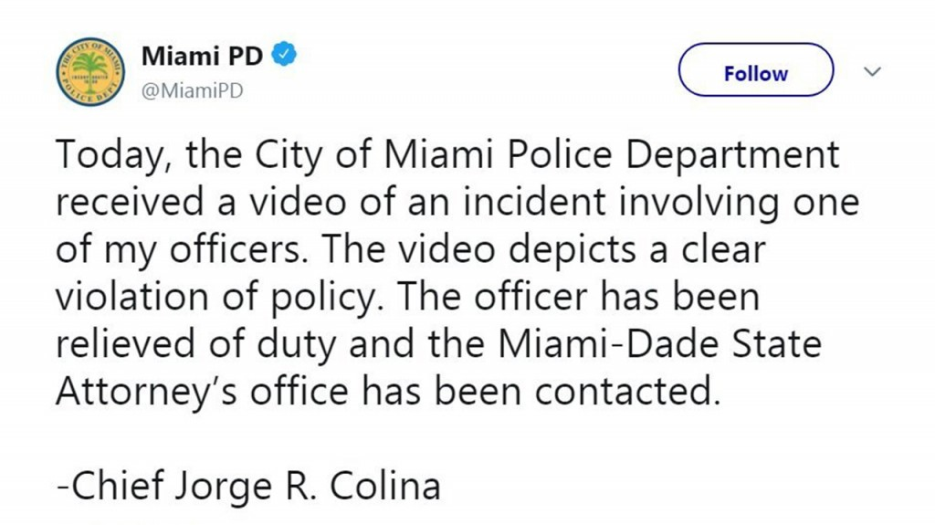 Miami police officer on video kicking a man in the head during an arrest