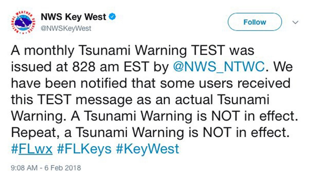 Oops! It happened again — tsunami test alert causes scare