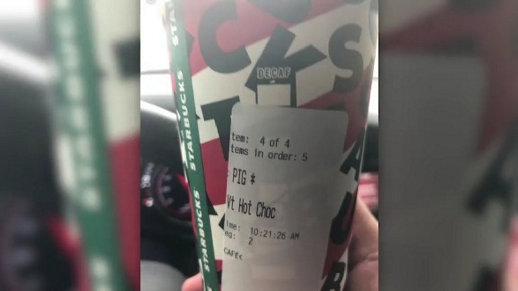 Police officer given Starbucks order with 'PIG' written on label