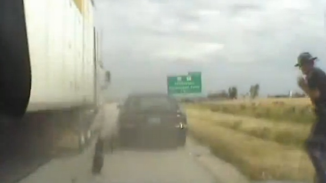 Video shows trooper's close call with semi on interstate
