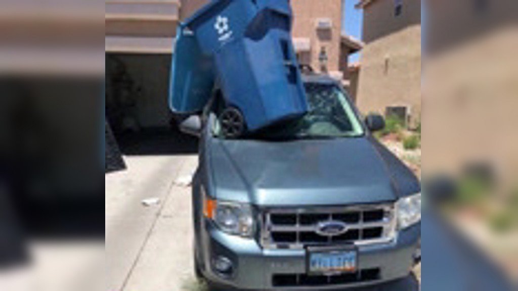 On Cam: Trash can in dust devil smashes car windshield
