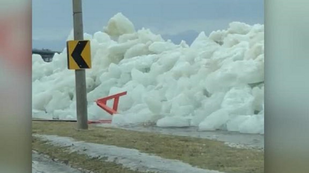 Walls of ice bulldoze ashore from Lake Erie