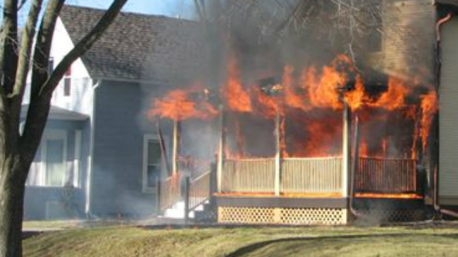 PHOTOS: Fire starts on Baraboo home's front porch