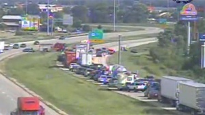 Injuries reported in motorcycle vs. car crash on I-39/90