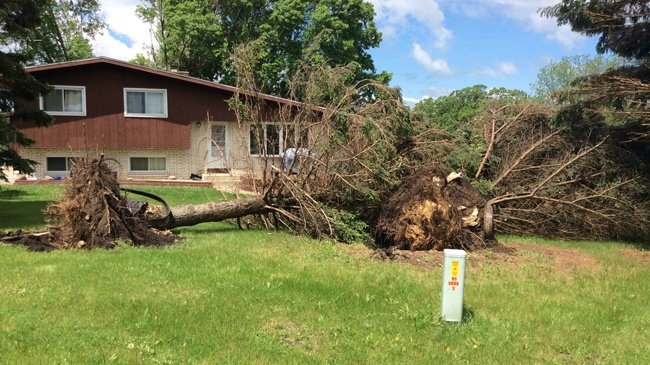 Damage from Tuesday's storms near New Glarus