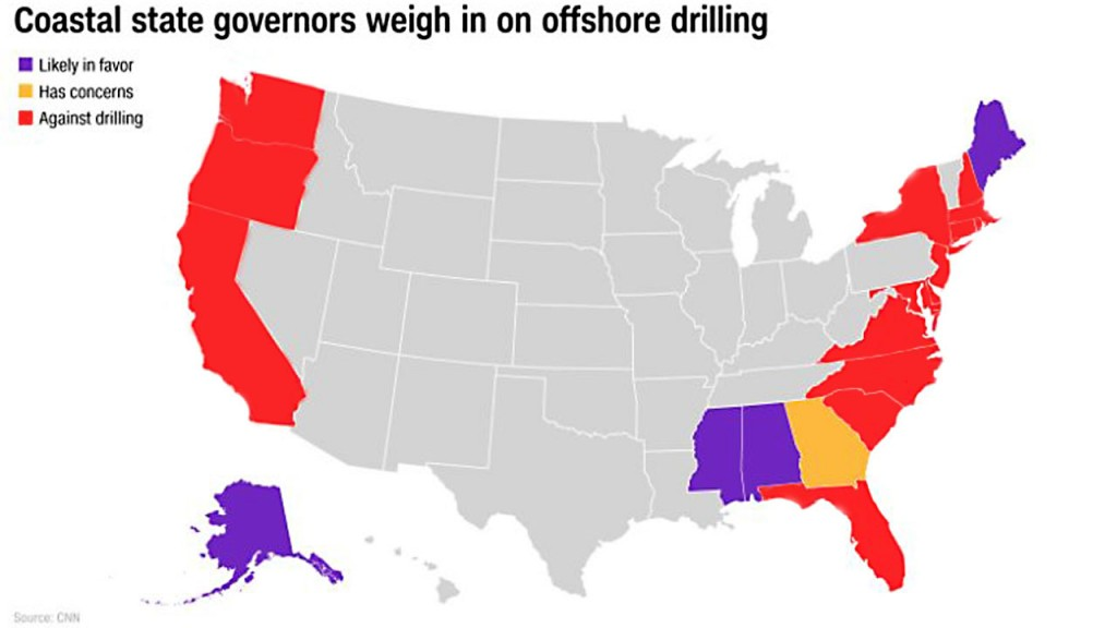 Nearly every governor with ocean coastline opposes Trump's drilling proposal