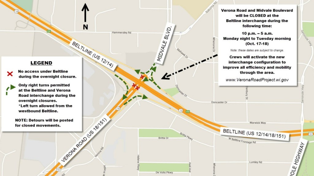 Verona Road at Beltline to close overnight Monday