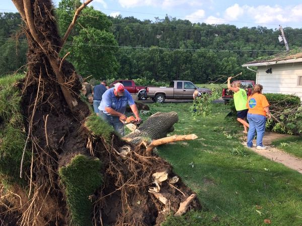 Storm winds tear apart trees in historic Cassville