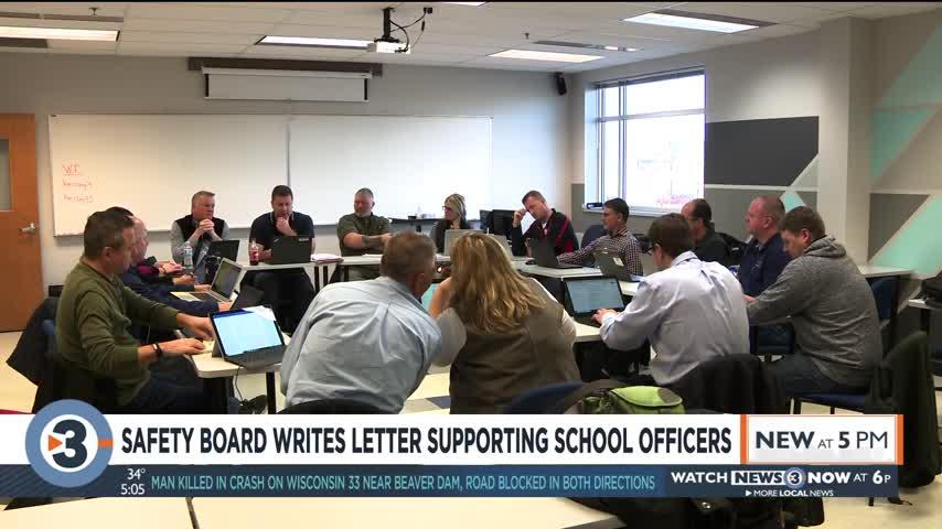 Safety board writes letter supporting school officers