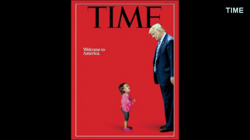 Time stands by illustration of crying girl next to Trump