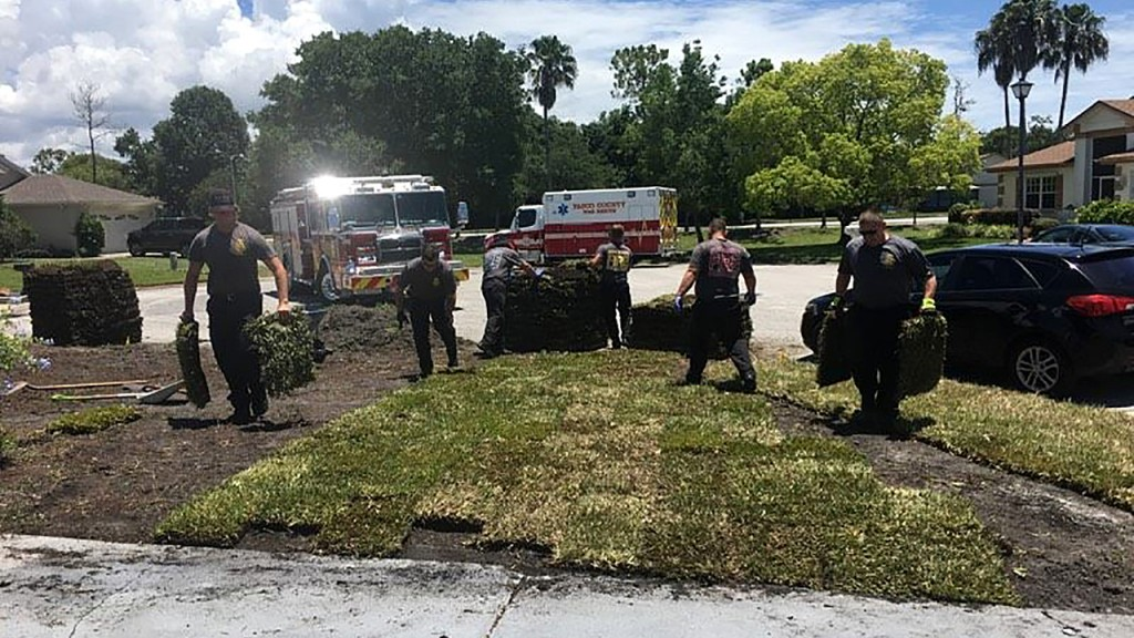 Firefighters save man, finish his yard work for him