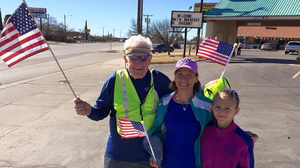 World War II veteran crosses country on foot for second time