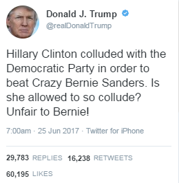 Trump: Clinton, Democratic Party 'colluded' against Sanders