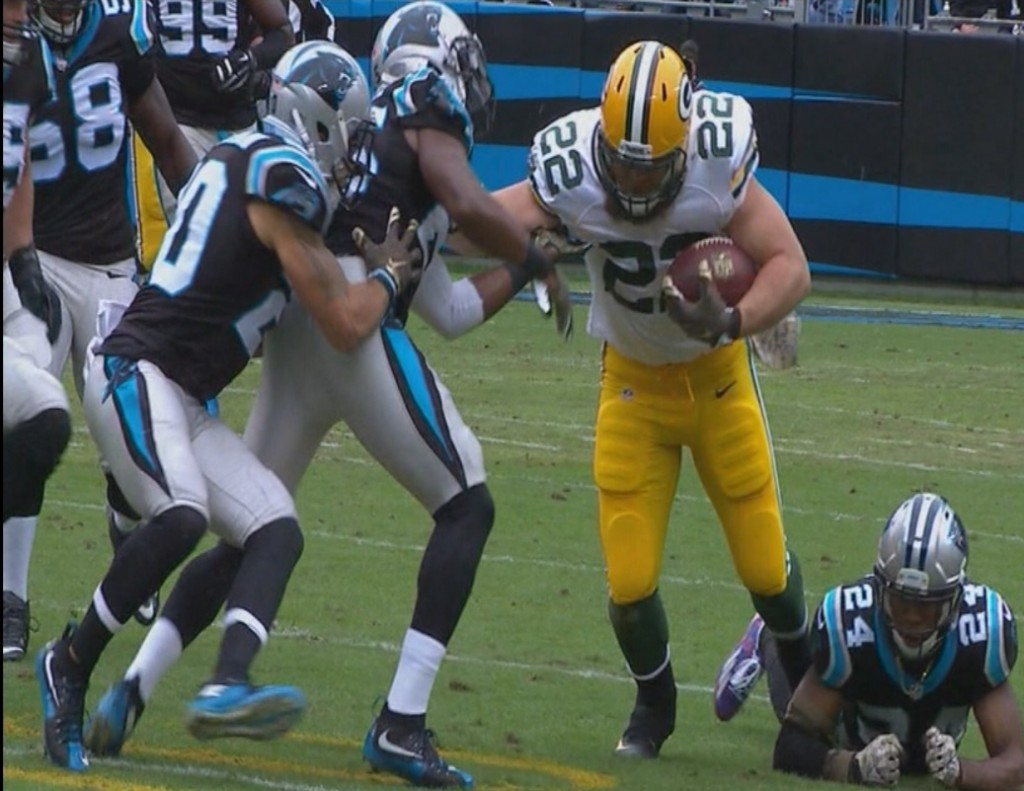 Newton's 4 TDs lead unbeaten Panthers past Packers 37-29