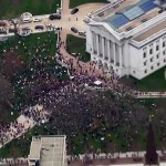Aerial view of stay-at-home order protest outside state Capitol building