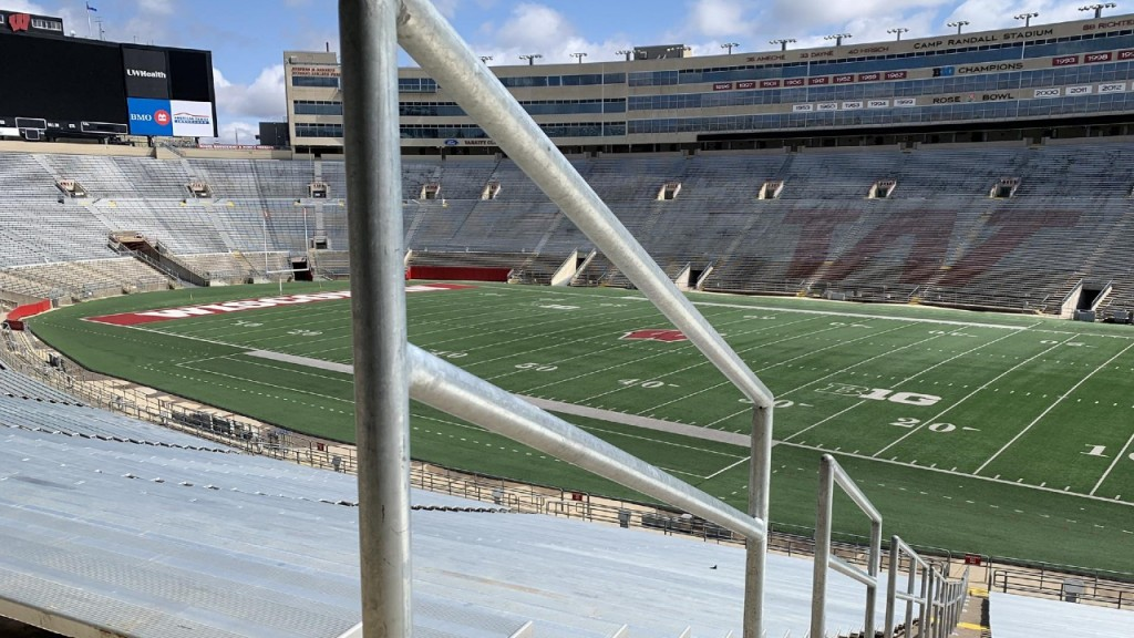 A rail is seen at Camp Randall Stadium in Madison