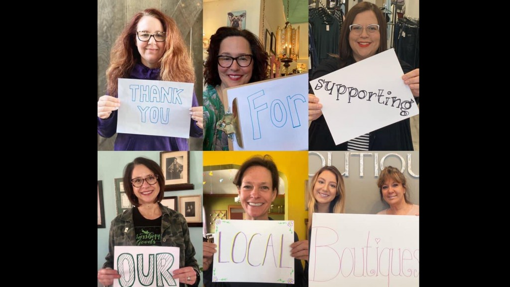 six boutique owners holding signs that say thank you for supporting out local boutiques