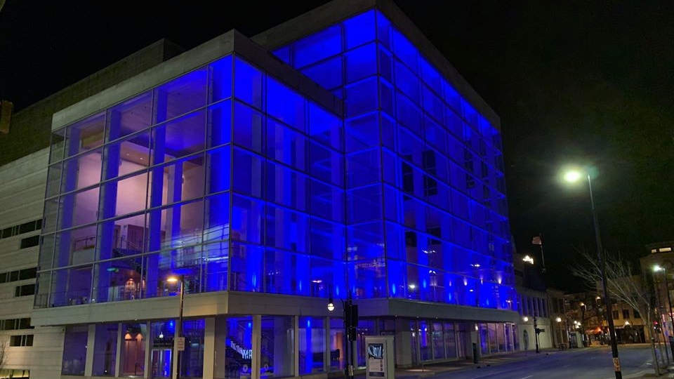Overture Center For The Arts lit up in Blue