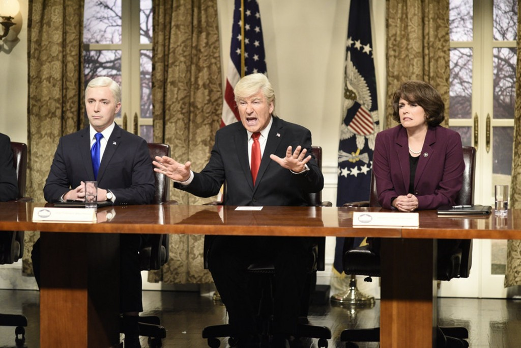 Still from SNL sketch with Alec Baldwin as Trump