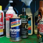 cleaning products on a shelf