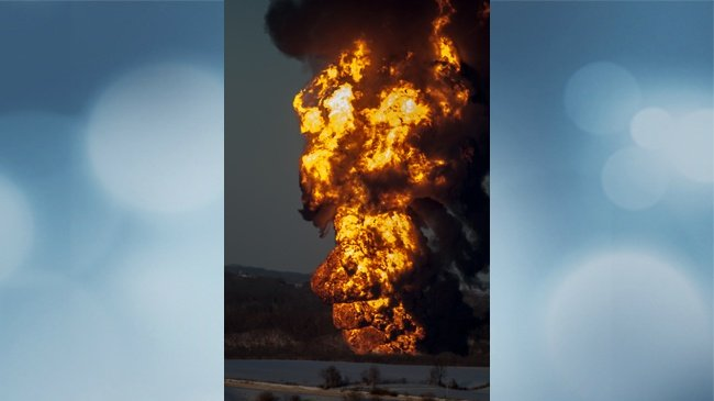 PHOTOS: Flames showing from reported train derailment near Galena