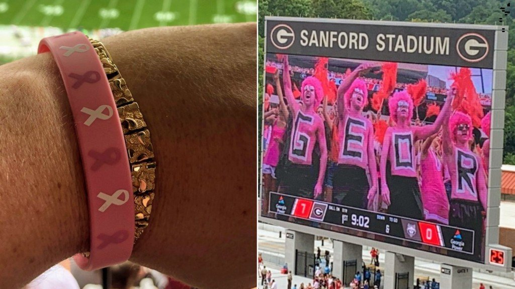 Georgia fans stage 'pink out' for opponent, whose coach's wife died