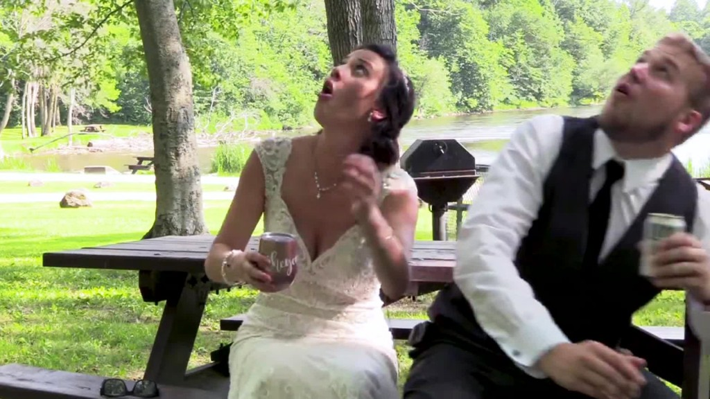 Newlyweds barely escape falling tree branch