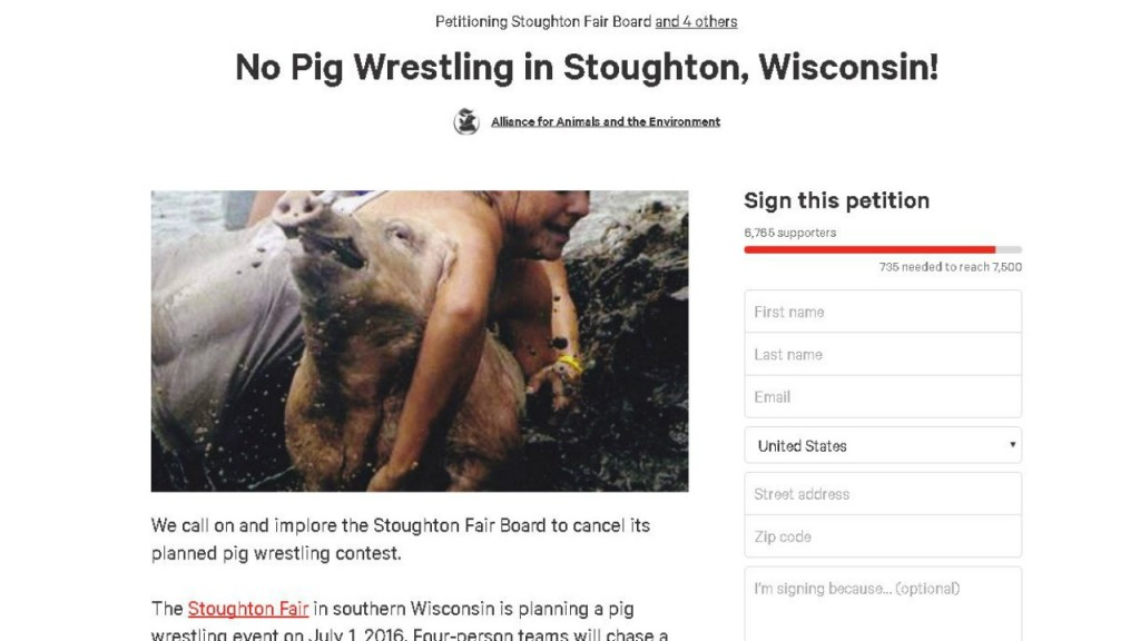 Stoughton Fair cancels pig wrestling event